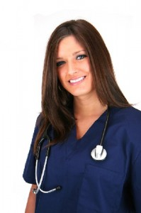 Nurse dressed in blue